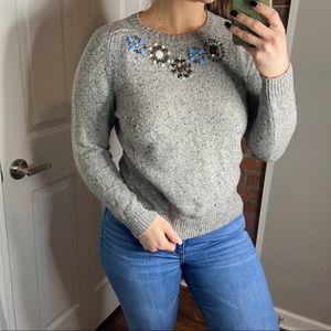 J. Crew embellished wool blend sweater M NWOT